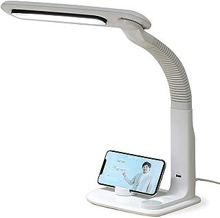 アイリスオーヤマ LEDデスクライト スマートフォン置き USBポート 調光無段階 角度調節可能 2way まぶしさガード 省エネ 2200lx ホワイト LDL-501RN-W