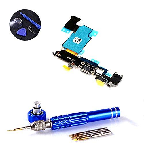 PPdigi Dock Connector für iPhone 6S Plus USB Ladebuchse Audio buchse Mikrofon mit Werkzeugset (iPhone 6S Plus, Space Grau)