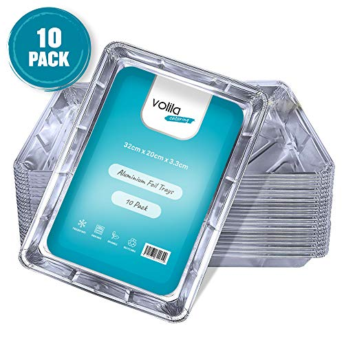 Wegwerp Folie Schalen Aluminium Folie Grote Containers voor Koken, Bakken, Invriezen en Bewaren Schalen - 32cm x 20cm x 3.3cm (10 Pack)