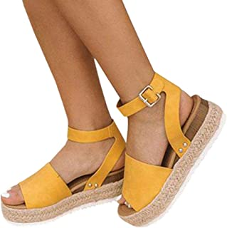 9cc17419af29 LAICIGO Women s Flatform Espadrilles Ankle Strap Buckle Open Toe Faux  Leather Studded Wedge Summer Sandals