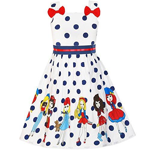 Vestido para niña Dibujos Animados Dot Corbata de moño Verano Sol 4-5...