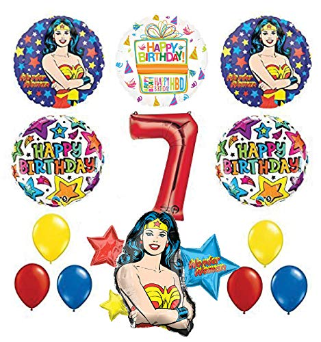 Mayflower Products Wonder Woman 7th Birthday Party Supplies and Balloon Decorations