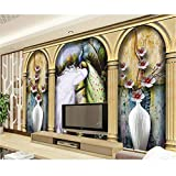 Rureng Los Murales 3D Personalizados 3D Roma Columna Mural De Pavo Real Restaurante Del Hotel Sala De Estar Sofá Tv Pared Dormitorio Papel De Pared-350X250Cm