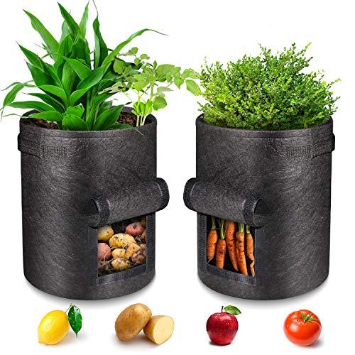 Kartoffel Pflanzsack 7 Gallonen,Pflanzsack mit Griffe aus Filzstoff Pflanze Grow Bag für Tomaten,Blumen,Pflanzen und Mehr(2 Pack)