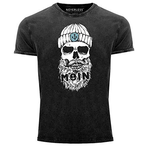 Neverless® Herren Vintage Shirt Moin Totenkopf Anker Skull Printshirt T-Shirt Aufdruck Used Look Slim Fit schwarz XXL