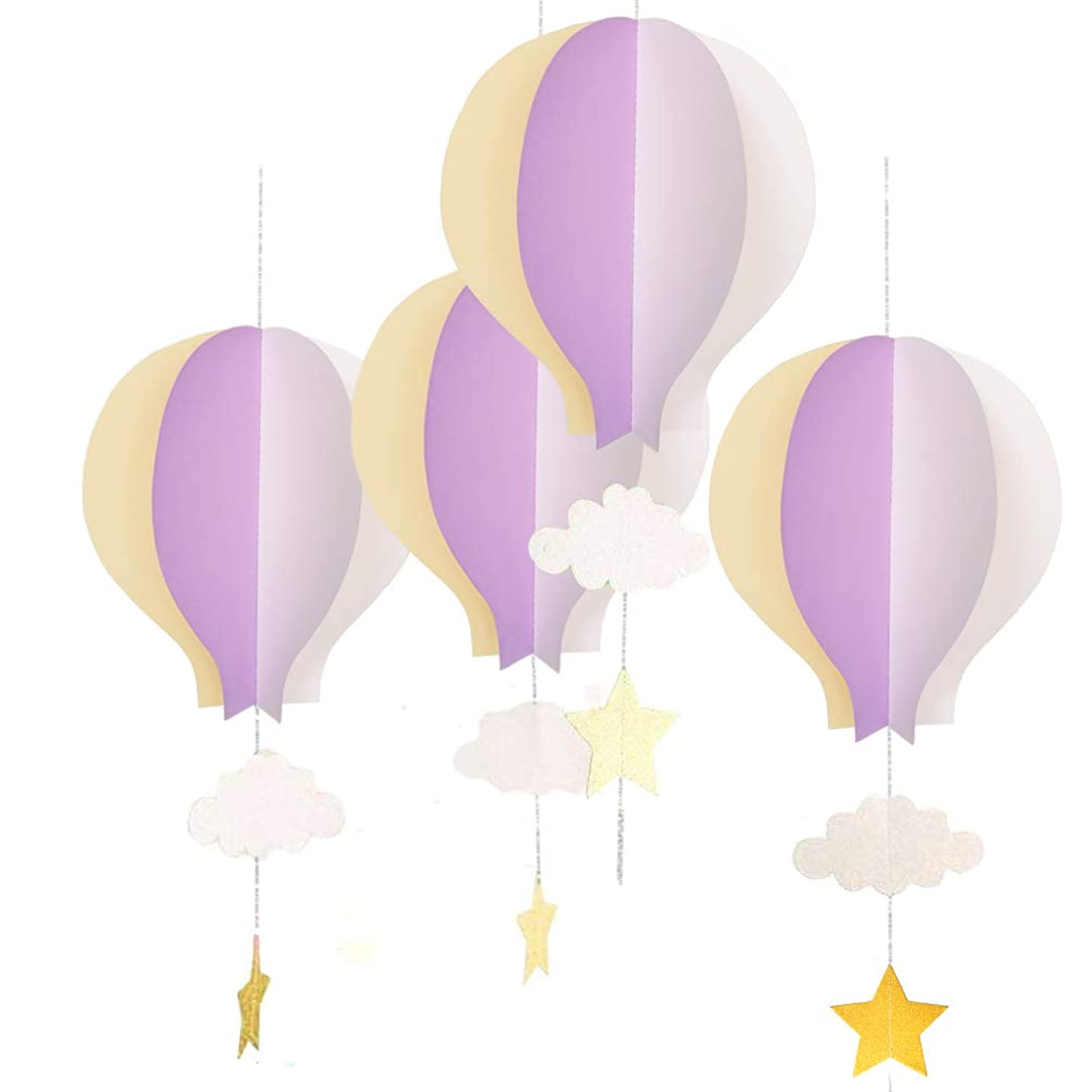 AZOWA 8 Pcs Big Hot Air Balloon Decorations Purple for Baby Shower