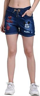 ROOLIUMS Women's/Girls Drawstring Denim Wash Printed Shorts for Women-Micky
