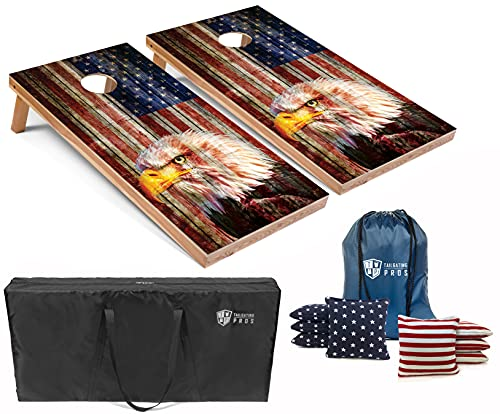 Tailgating Pros Patriotic Eagle US Flag Design Cornhole Board Set w/Bean Bags and Carrying Case - 4'x2' Corn Hole Toss Game - Optional LED Lights