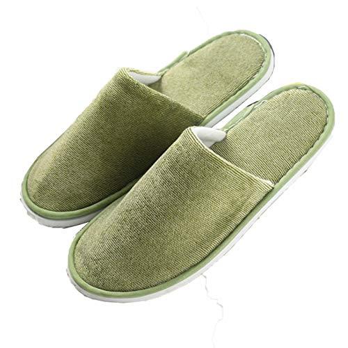 AELEGASN 10 Pares De Zapatillas Desechables SPA Home Zapatillas Respirables Lavable Reutilizable Zapatos Unisex para Viajes De Hotel Baño, Invitados, Hogar, Bodas,Verde