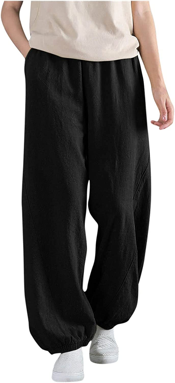FNJJLU Wide Inventory cleanup selling sale Legged Pants for Women Cotton Linen Solid High order Tro Color
