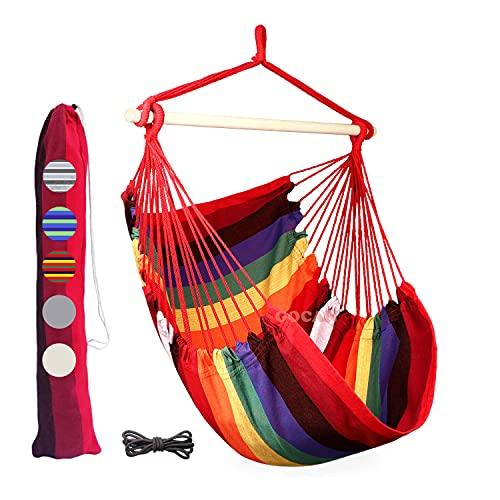 Photo of GOCAN Hammock Chair Large Hammock Swing,110 X 150cm load 350lbs,Cotton Hanging Chair Hardwood Spreader Bar Wide Seat Swing Chair(Rainbow)