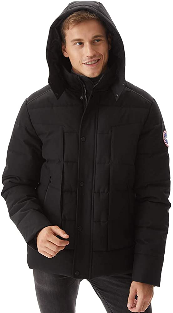PUREMSX Mens Houston Mall Winter Jacket Thicken Topics on TV Hooded P Short Anorak Quilted