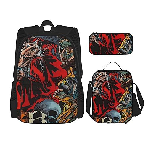 Demon Monster Mural Beste Gift Voor Studenten 3 In 1 Set Waterbestendig Rugzakken/Grote Capaciteit Potlood Cases…