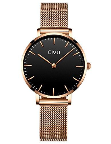 CIVO Relojes de Mujer Ultra Fino Silm Minimalista Reloj de Señoras Impermeable Moda Elegante Relojes de Pulsera Lujo Casual Acero Inoxidable Malla Reloj de Cuarzo para Mujeres Chicas Adolescentes