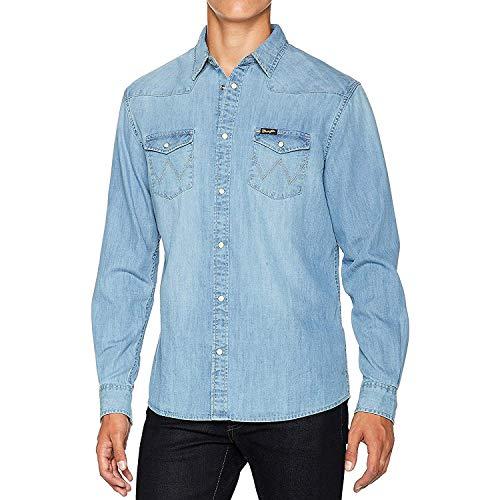 Mens Wrangler klassisch Westliche Jeanshemd - helle Waschung - Helle Waschung, XX-Large