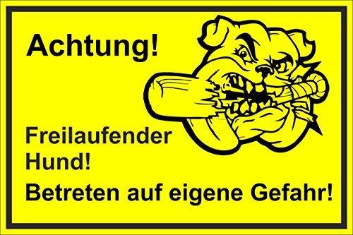 Bord - hondenbord - Let op - vrijlopende hond - 15x10cm, 30x20cm en 45x30cm - Boorgaten sticker hardschuim alucomposiet -S00017-J-C 45x30cm – Aluverbundplatte – mit Bohrlöchern