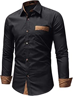 IndoPrimo Men's Black Cotton Casual Shirt for Men Full Sleeves