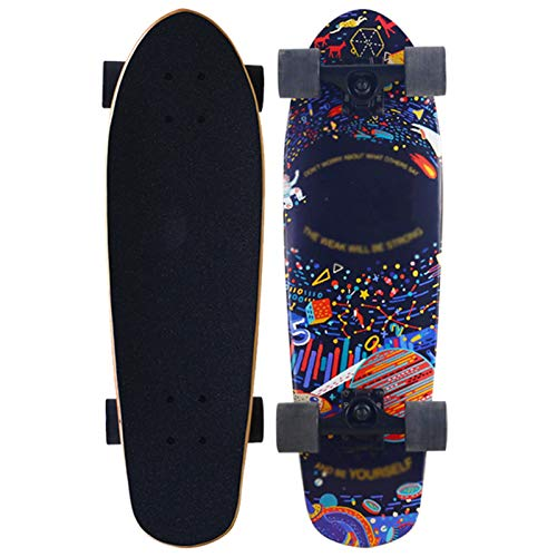 LUO Patinetes para niños Skateboards para Principiantes, Maple Double Kick Deck Cruises cóncavos, zócalo de los pies Superficiales, Adecuado para Adultos, niños y niñas (Color : Space)