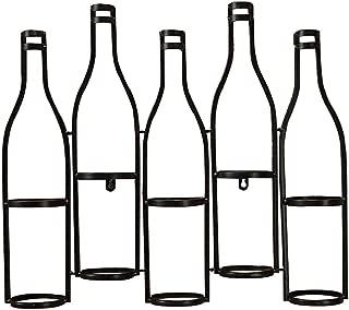 Wine Rack Wall-mounted Metal Wine Rack Wrought Iron Hanging Wine Rack Bar Living Room Bar 5 Bottles of Black Wine Rack Bottle Holder (Color : Black, Size : 59509cm)