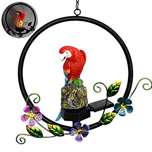 Macabolo waterdichte LED Solar Wind Chime Light Solar hars papegaai smeden ijzer licht tuin hangende lamp voor Pathway Yard Patio dek, 28.5 * 8.5 * 49.5cm, rood
