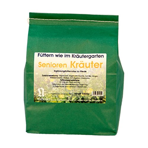 Natusat Kräutermischung Seniorenkräuter 1000 g - Alte Pferde - Mit Hagebuttenfrüchte, Kamille, Ginkgo.....