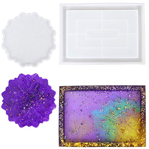 Haishell Formas de resina epoxi, juego de 2 posavasos de silicona, molde de resina de silicona, molde de resina epoxi, molde de silicona para manualidades, decoración de mesa