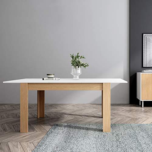 Mc Haus GROTTA - Mesa Comedor Extensible Madera Blanca salón, Mesa Cocina diseño Nórdico y patas de madera Natural 140/190x90x78cm