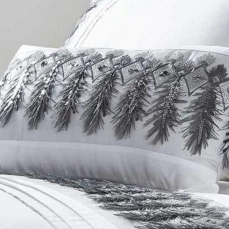 Rapport Cojín Boudoir relleno de plumas blanco/plata lujoso accesorio de cama 30 x 50 cm