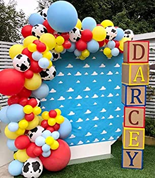Cow Pattern Printed Balloon Arch Toy Story Theme Party Supplies 129pcs Red Yellow Blue Balloons Garland Kit for Mario Toy Story Theme Birthday Party Baby Shower Farm Circus Carnival Party
