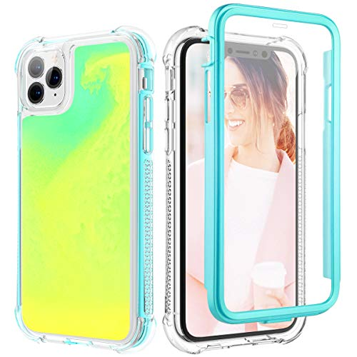 Caka Case for iPhone 11 Pro Glitter Case Full Body Glow Neon Sand Protection Rugged Liquid Shockproof Girls Women Case for iPhone 11 Pro (5.8 inch, 2019) (Green Yellow)