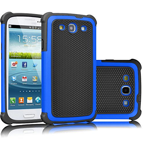 Galaxy S3 Case, Tekcoo(TM) [Tmajor Series] [Blue/Black] Shock Absorbing Hybrid Rubber Plastic Impact Defender Rugged Slim Hard Case Cover Shell for Samsung Galaxy S3 S III I9300 GS3 All Carriers