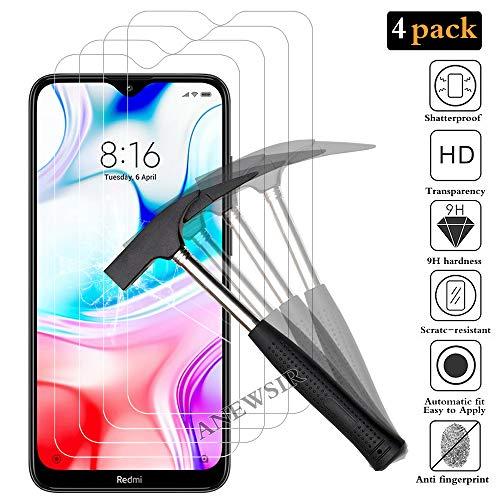 ANEWSIR 4X Vetro Temperato per Xiaomi Redmi8/8A, Pellicola Protettiva Protezione Schermo per Xiaomi Redmi 8/8A, Anti graffio, Senza Bolle, Alta Definizione,Trasparente Screen Protector