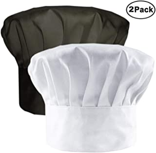 Chef Hat Adult Adjustable Elastic Baker Kitchen Cooking Chef Cap, White, Black