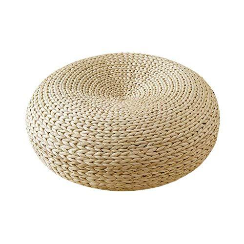 Asiento redondo de paja, 45 x 15 cm, cojín de punto Tatami, hecho a mano natural, tapete de paja firme, tejido japonés, para mesas de balcón, hogar, patio en interiores