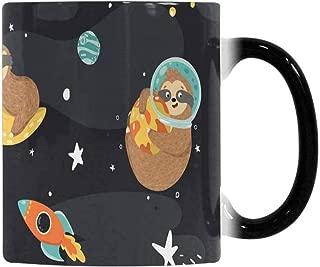 InterestPrint Funny Sloth Astronaut, Stars, Planets, Rockets 11oz Color Changing Mug, Heat Sensitive Change Morph Coffee Cup Tea Mug