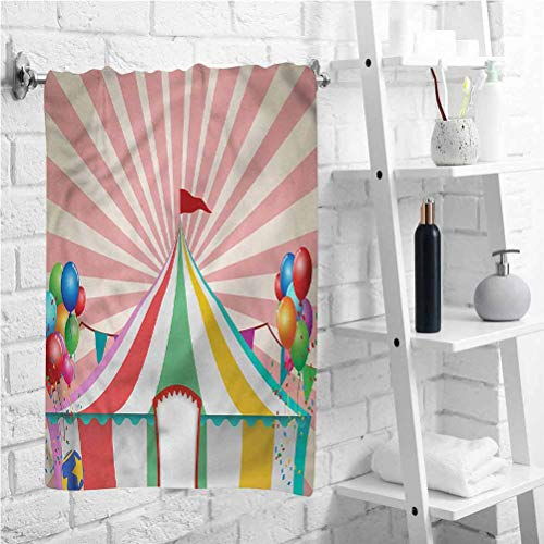 W 14 X L 28 inch Shower Towel Vintage Circus Tent,Absorbent Hotel Bathroom Bath Towel,Best Lightweight Towel for The Swimming,Sports,Beach