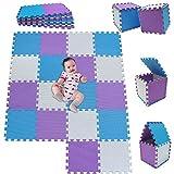 Mshen18 piezas alfombra puzzle bebe con certificado ce y certificación eva | puzzle suelo bebe | puede ser lavado goma eva,tamaño 1. 62 cuadrado,blanco-azul-púrpura-010711g18
