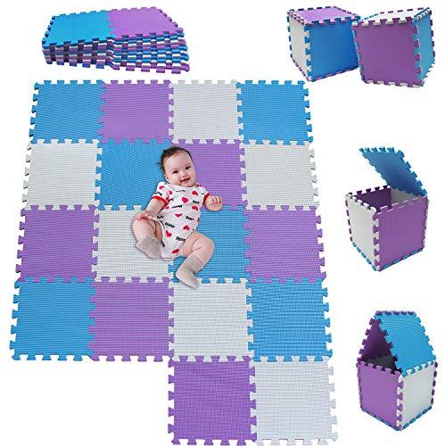 MSHEN18 Piezas Alfombra Puzzle Bebe con Certificado CE y certificación EVA | Puzzle Suelo Bebe | Puede ser Lavado Goma eva,Tamaño 1.62 Cuadrado,blanco-azul-púrpura-010711g18