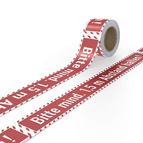 Betriebsausstattung24 Professionelle Bodenmarkierung Bitte Abstand halten! Aufkleber mit Schutzlaminat   Direkt vom Hersteller!   Kein billiges Klebeband   25,0 m Rolle mit 41 STK.
