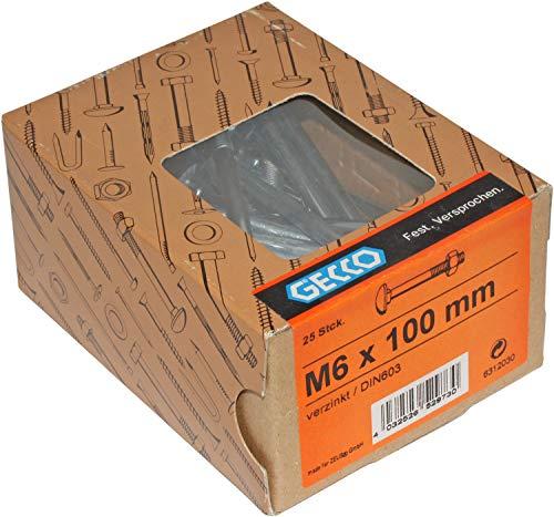 HKB ® 25 Stück Schloßschrauben, M6 x 100mm, Flachrundbolzen, Teilgewinde mit Mutter, Stahl verzinkt, DIN603, Profi-Qualität, Hersteller GECCO, Artikel-Nr. 6312030