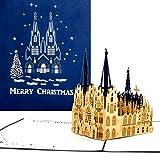 'Pop tarjeta de Up Kölner Dom–Merry Christmas Azul, tarjeta de Navidad (Catedral de Colonia, Pop Up tarjeta en Navidad, 3d tarjeta Colonia, Christmas Greeting Card Cologne