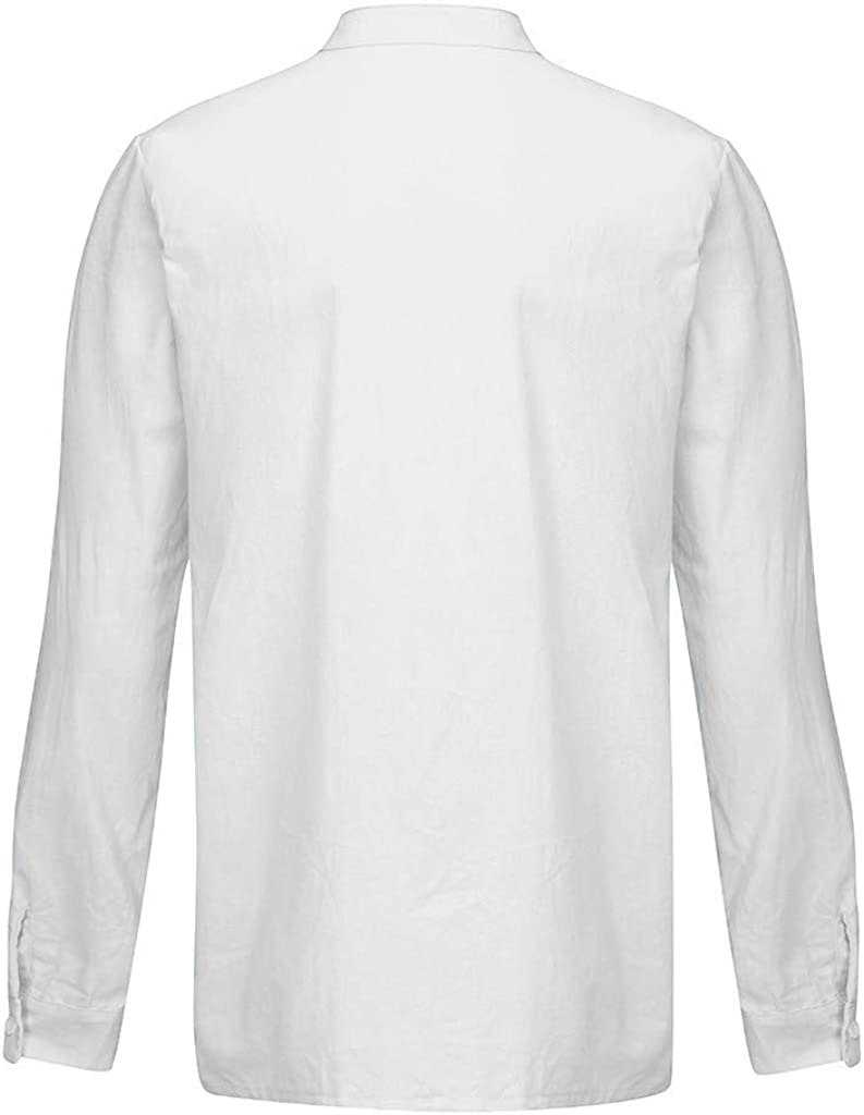 Gergeos Men's Baggy Cotton Linen Shirts with Pocket Button Down Shirts Loose Fit Casual Shirts Long Sleeve Shirts for Men
