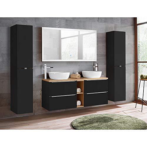 Lomadox Badmöbel Set 140 cm Doppel-Waschtisch inkl. 2 Keramik-Aufsatzbecken, seidenmatt anthrazit und wotaneiche, 2X Hochschrank und LED-Spiegel