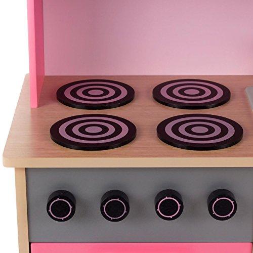 Baby Vivo Kinderküche Spielküche aus Holz Kinderspielküche Küche Holzküche Spielzeugküche mit Tafel - Mila in Rosa - 7