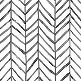 HaokHome 96020-1 Papier peint en vinyle autocollant décoratif Motif chevrons Noir/blanc 17,8 x 3 m
