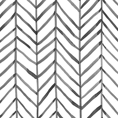 HaokHome 96020-1 Modern Stripe Peel and Stick Wallpaper Herringbone Black White Vinyl Self Adhesive Decorative 17.7'x 9.8ft