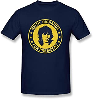 Mens Keith Richards for President The Rolling Stones Adult Regular Fit Casual Short T-Shirt Clothing