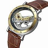 Fesjoy Men Watch Luxury Skeleton Automatic Mechanical Men Watch Automático Viento Acero Inoxidable/Cuero Genuino Hombre Business Reloj de Pulsera Masculino Relogio + Caja