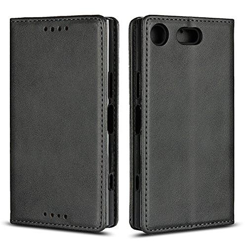 Copmob Sony Xperia XZ1 Compact hülle,Premium Flip Leder Geldbörse mit weichem TPU-Shock Absorption,[3 Kartensteckplatz][Ständerfunktion][Magnetschnalle] - Schwarz