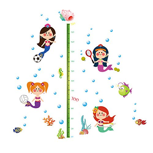 Winhappyhome Fishes Children Height Measurement Chart Art Muraux Stickers pour Kids Room Garderie Décalcomanies Décor Amovibles
